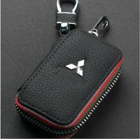Genuine Leather Remote Control Bag For MITSUBISHI pagerlo lancer outlander ASX evo key Bag Key Case