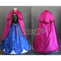 Free Shipping Customized Movie Frozen Princess Anna Costume Princess Cosplay Costume