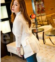 2014 HOT Suit Tops Blazer Women Jackets Chiffon Coat Contrast New Long Sleeve white black blazer