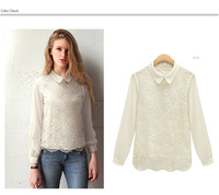 2015 New Fashion Shirt Clothing Long Sleeve Lapels White Lace Chiffon  school Casual Puls Size Ladies Tops For Women Blouse