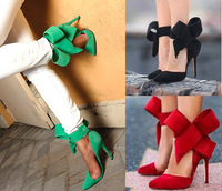 Newest designer bow tie sandals women pointed toe high heels wedding party gril stiletto shoes size 11 12 13 100% real photo