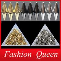 3d Rivet Clinch Bolt Metal Nail Art Decorations,200pcs/lot 4X6mm Circular Cone Star Punk Rock Spikes Bags Phone Diy Accessories