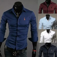 Hot-selling Men'S Shirts Onta Embroidery Male Fashion Clothing Casual Slim Men Long-sleeve Shirt 5 Colors M~XXL