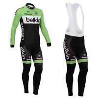 New 2014 Belkin Thermal Long Sleeve Cycling Jersey Thermal Bib Pants Winter Cycling Clothing Free Shipping