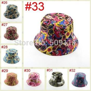 Новый женщин хлопка шлем ведра рыбалка Hat Sun пляжа лета Hat цветочный цветок шляпа ...