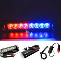 New Free Shipping 8 LED Blue & Red Strobe Flash Warning Light Flashing Emergency Lamp For Police Firemen Fog EMS High Power