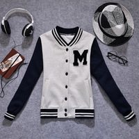 Sweatshirt Sport Suit Women 2014 New Fashion Baseball Jackets Thicken Hoodies M Letter Printed Cardigans Coat Plus Size HO-152