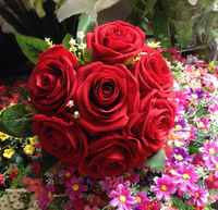NEW ARRIVALS RED/BLUE ARTIFICIAL FLANNEL ROSE BOUQUET FOR WEDDING BRIDE BOUQUET FLOWERS HOME DECORATION