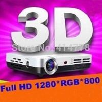 Mini Shutter 3D HD DLP Projector 1280*800 1080P convert 2D to 3D Amazing display effect Beamer Projector,home projecotr