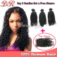 Peruvian Virgin hair extension 3 bundles Hair Weft with a free lace closure Kinky Curly Unprocessed Peruvian human hair Weave 6A