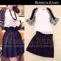 new 2014 summer fashion European Yarn fight sleeve print chiffon sleeve shirt Pleated black skirt suit