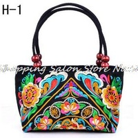 National trend embroidered bags Handmade embroidery cloth vintage canvas women handbag small shoulder bag