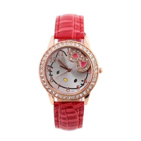 1Pcs PU Leather Strap Dress Watch Hello Kitty Watches bowknot Quartz Watch Women Wristwatches(China (Mainland))