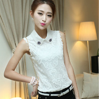 New 2014 Summer Fashion Women Clothing Organza Sleeveless Base Shirt Women Work Wear Blouse Lace Shirt Tops Plus Size TT030