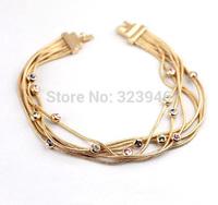 Free shipping 2014 new 18k rose gold plated starry Austria crystal pullchain tassel Italina Jewelry bracelet&bangle wholesale