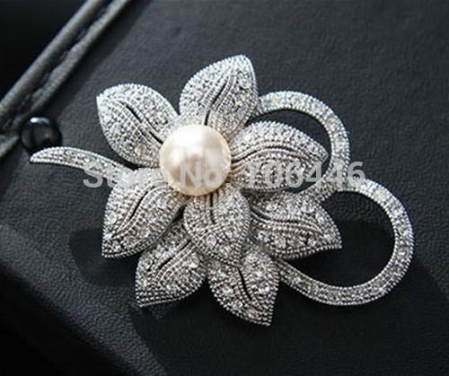 Vintage Look Silver Plated Clear Rhinestone Crystal Diam