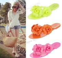New 2014 Fashion Women  Camellia Flat Heel Sandals Melissa Summer Floral flip flops for Women