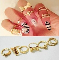 7pcs/set Hot sell Mixed New Fashion Gold Plated Metal Bow Skull Heart Charm Rings Set Punk Party Wome Jewelry Freey Ship