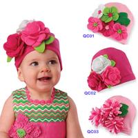 Hot sold Spring Autumn flower lovely children kid Baby hat Baby Photo Props Baby Kids Girl hat Gift (3pcs/lot)