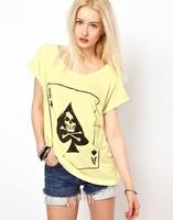 2014 New Fashion Lady Women's Skull Spade K Novelty girl cotton t-shirt short Sleeve Summer Casual grey Color Top