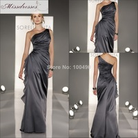 The Latest Design Dark Grey Bridesmaid Dresses Full length A-line Satin One Shoulder Chiffon Frill Accent