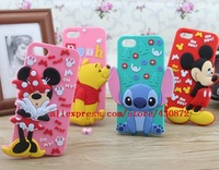 for iphone 5 5s case NEW 3D Mickey Minnie Sulley Mike Stitch Rubber Silicon cell phone cases covers to iphone5s Free shipping