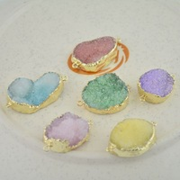 10pcs Gold Plated Wrapped Drusy Druzy Geode Agate Pendant for Bracelet Connector