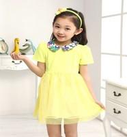 2014 three colors girl elegant dress of  toddler dress for summer fashion wear shortsleeve princess dress for girl