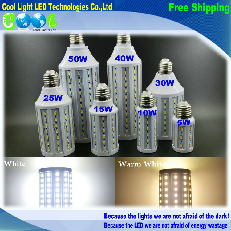 E27 E14 5730 LED Corn Light AC 110V Bulb lighting, 10W 15W 25W 30W 40W 50W,white&warm white(China (Mainland))