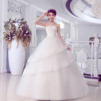 Summer 2014 Women's Korean version of the new retro sweet princess wedding dress Tube Top lotus leaf folds bride dress