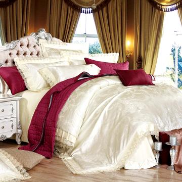 S&V Luxury embroidered bedding sets 4pcs solid color duvet cover set modern wedding milk white bedsheet queen king bed linen(China (Mainland))