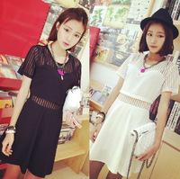 2014 summer new sexy short sleeve stitching transparent women summer  dresses women vintage dress