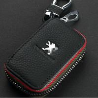 Leather Key Bag Key Case for Peugeot Logo 508 3008 301 408 307 207 308 cc 4008 Peugeot Car Logo Keychain