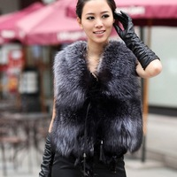 Low Low !!!2014 Autumn and Winter New Design Nature Genuine Real Silver Fox Fur Vest gilet outwear womens with Fox Heads