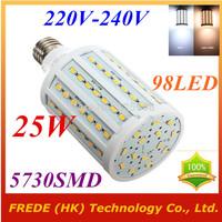 25W,5730 SMD,LED Lamps Bulb,E27 B22 E14,220V,230V,240V,Cold White/Warm white,98 LED,Corn Light Bulb,Ultra bright spot lights