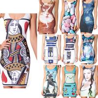 HOT 2014 New Fshion Dresses for Womens Digital Printing QUEEN OF HEARTS DRESS - LIMITED Vest skirt Women Sundress Drop Shipping