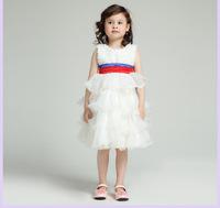 Free shipping 2014 Children's wear wedding dress girls color bow evening dress dress girl princess dress