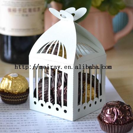 """2014 personalizado 300 peças/lote 250 g pérola acessórios caixa de doces do casamento de papel """" gaiola de pássaro """" caixa de Favor com fita de Organza grátis(China (Mainland))"""