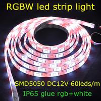 SMD5050 DC12V 60leds/m 5m/reel rgb+white IP65 glue waterproof RGBW flexible led strip light bulb for decoration,free shipping