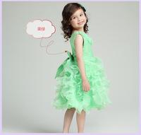 Free shipping 2014 Children's party dress girlsrose flower evening dress princess dress organza dress