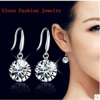 Simulated Diamond CZ pendientes Dangle Earring, Zircon Earrings 925 Sterling Silver with Stone for Wedding Jewelry White Y047
