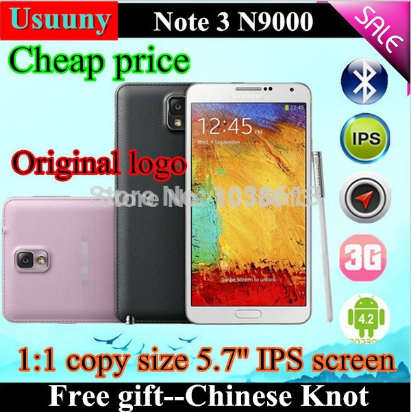 In stock cell phone 5.7 inch Note 3 N9000 cell phones android system MTK6582 quad core Mobile phone 3G WCDMA dual mode telphone(China (Mainland))