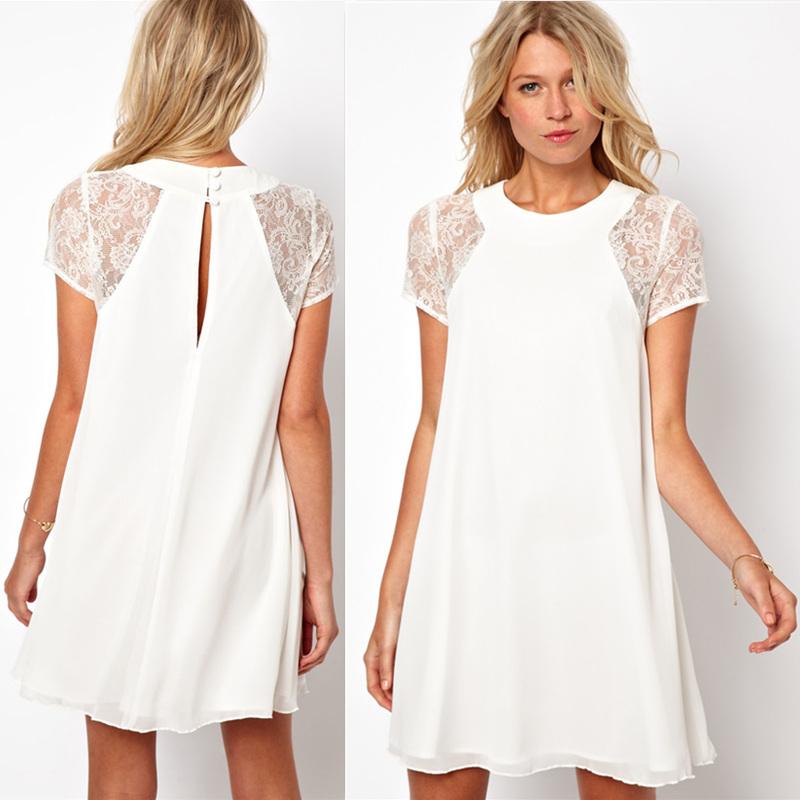 2014 Summer spring women clothing lace short sleeve white back chiffon Underskirt sexy lace dress Plus size XXL Women's Dress(China (Mainland))