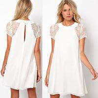 2014 Summer spring women clothing lace short sleeve white back chiffon Underskirt sexy lace dress Plus size XXL Women's Dress