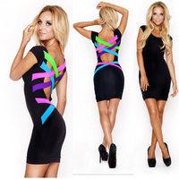 XXL Plus Size 2014 New Vestidos Women Colorful Back Bodycon Bandage Dress High Street Novelty Dress Summer Casual Dress 9107