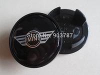 100pcs 54mm mini wing cooper wheel center cap  hub cover car emblem badges black wholesale