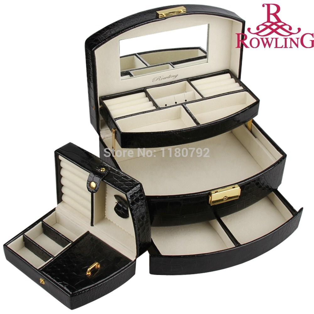 [ROWLING] Wholesale BLACK Jewelry Box Watch Display Case Rings Beads Bracelets Organizer Gift Box Faux Leather ZG172(China (Mainland))