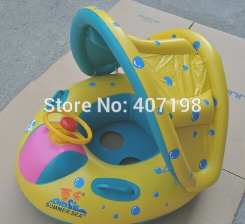 2015 Hot sale Inflatable Toddler Baby Swim Ring Float Seat Swimming Pool Seat with Canopy thicken great gift for baby(China (Mainland))