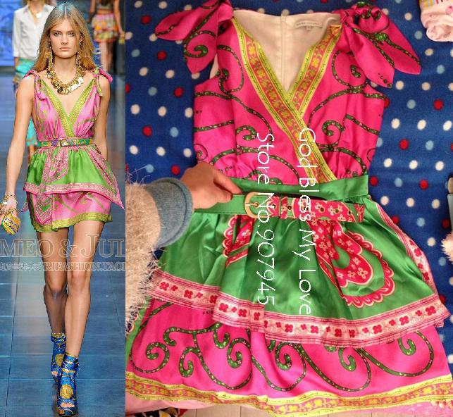 2014 sommermode vintage drucken hochwertige elegante seide- stück kleid