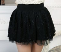 Free Shipping 2014 new spring and autumn bottoming mini skirt organza pleated skirts lace skirt princess dress